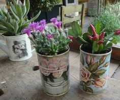 Decoupage, Planter Pots, Beautiful, Tin Can Crafts, Handmade Crafts, Bottles, Recycled Tin Cans, Planters, Objects