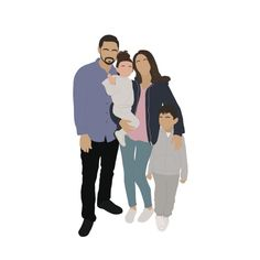 Custom illustrated portraits - Digital - solo, family, pets, etc - gifts for her, gifts for him Illustration Art Drawing, Family Illustration, Portrait Illustration, Art Drawings, Drawing Artist, Studio Family Portraits, Royal Family Portrait, Portrait Art, Portrait Poses