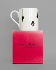 Bone china mug produced exclusively for the exhibition motion:emotion by Annette Messager. -MCA Store