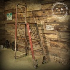Vintage Industrial Machine Age 5 Step Dayton Safety Ladder w/ Work Platform Deck Loft Plant Stand
