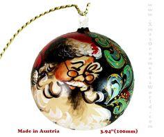 Hand Painted Christmas Ball Ornament w.Santa Face No.2 (Austria)