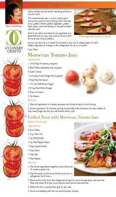 Our Moroccan Tomato Jam is a summer favorite! Fresh Tomato Recipes, Tomato Jam, Jam And Jelly, Flank Steak, Grilled Vegetables, Grilled Chicken, Truffles, Moroccan, Soups
