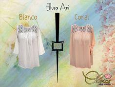 Blusa Ari en Blanco y Coral.
