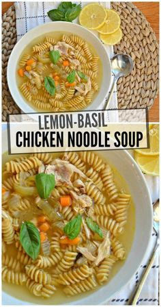 Lemon Basil Chicken Noodle Soup – Make the Best of Everything Hearty Soup Recipes, Yummy Chicken Recipes, Yum Yum Chicken, Chicken Noodle Soup Ingredients, Lemon Basil Chicken, Leftover Rotisserie Chicken, Slow Cooker Soup, Soups And Stews, Healthy Cooking