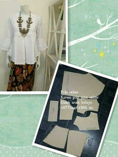 Blouse Batik, Batik Dress, Easy Sewing Patterns, Baby Patterns, Blouse Patterns, Clothing Patterns, Kebaya Simple, Modern Kebaya, Batik Kebaya