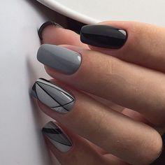Grey Nail Designs, Nail Art Designs Videos, Classy Nail Designs, Almond Nails Designs, Elegant Nails, Stylish Nails, Cute Nails, Pretty Nails, Wedding Nail Colors
