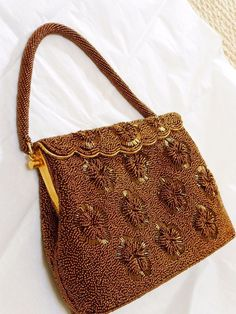 VINTAGE GOLD BEADED EVENING HANDBAG PURSE #Unbranded #Clutch