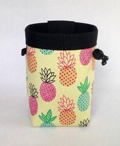 pineapple chalk bag, rock climbing, yellow, pink, green, orange, fruit chalk bag, chalk bag climbing