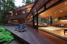 cedar siding and ceiling used in Sleek Cabin on Squam Lake by Tom Murdough
