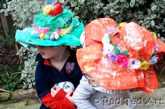 Nifty Thrifty Easter Bonnets (or Summer hats!) make these bright and colourful hats from newspapers and upcycled tissue paper.
