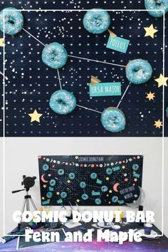 National Doughnut Day 2019 Instagram Party Hop with Fern and Maple Cosmic Doughnuts Fun Party Themes, Diy Party Decorations, How To Make Confetti, Painted Pegboard, Blue Spray Paint, Instagram Party, Donut Bar, Space Party, Diy Letters
