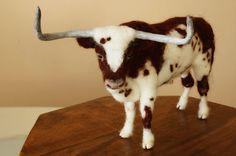 Needle felted bull Texas Longhorn bull bull by MinzooNeedleFelting