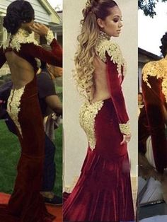76342906b87 Velvet evening dresses 2015 Sexy turtleneck long-sleeved beaded gold  appliques Rhinestones Glitz Sheer back Prom gowns