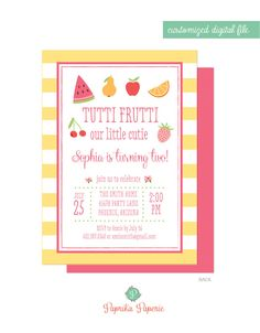 Tutti Fruitti invitation, Colorful Fruit Themed Party, Two-tti Fruity Printable for Birthday or Summer Pool Party, Digital or Printed, DIY by PaprikaPaperie on Etsy https://www.etsy.com/listing/280077230/tutti-fruitti-invitation-colorful-fruit