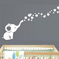 Elephant Bubbles Nursery Wall Decal Room Decor (White)