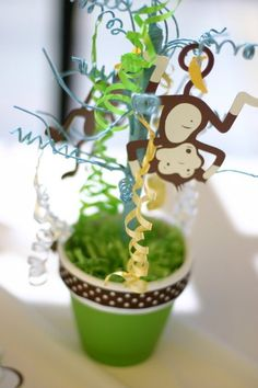 Monkey Table Center Piece #baby #shower #games