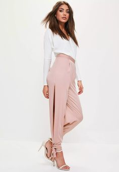 Get the luxe look with these trousers - featuring a nude hue with pink undertones, side split detailing, tie ankles and a satin finish.