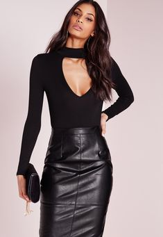 """good things come in small packages. shop our missguided petite range, for babes 5""""3 and under. keep that casual style game of yours strong in this black bodysuit. in classic black, on trend high neck, and a plunge cut out, you'll be look..."""