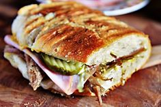 """Cuban Sandwich  - there's a link to an awesome """"pernil"""" (slow cooked puerto rican pork) - I am totally making this for myself sometime"""