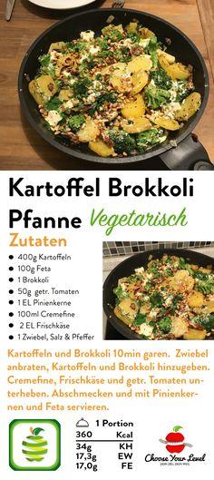 Gemüsepfanne vegetarisch – Choose Your Level™ - Diet Recipes Healthy Potato Recipes, Broccoli Recipes, Salmon Recipes, Veggie Recipes, Lunch Recipes, Healthy Dinner Recipes, Diet Recipes, Vegetarian Recipes, Vegetarian Cabbage
