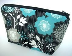 Large Zipper Pouch Flat Bottom Padded ECO Friendly Cosmetic bag  Elegant Aqua Floral