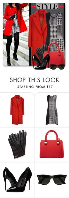 """""""Houndstooth Dress & Red Coat"""" by brendariley-1 ❤ liked on Polyvore featuring Jaeger, Ilaraí, New Directions, Victoria Beckham, Dolce&Gabbana and Ray-Ban"""