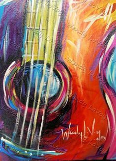 Guitar painting in rainbow colors. Music Painting, Guitar Painting, Guitar Art, Painting & Drawing, Painting Classes, Wine And Canvas, Art Plastique, Acrylic Art, Painting Inspiration