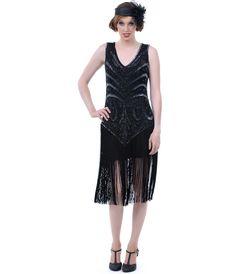 Unique Vintage The Sable Black Beaded V Dropped Waist and Fringe Skirt Flapper Dress - Unique Vintage - Prom dresses, retro dresses, retro swimsuits. Flapper Dresses For Sale, Gatsby Dress For Sale, Black Flapper Dress, 1920s Fashion Dresses, Beaded Flapper Dress, Great Gatsby Dresses, Flapper Style, 1920s Dress, Vintage Inspired Dresses