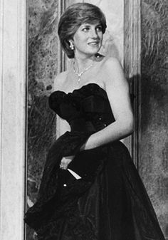 In 1981, Princess Diana wore a black strapless gown for her first appearance as the Princess of Wales
