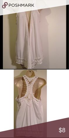 White crochet trimmed vest Cute little vest with crochet edges. Wear wth jeans, shorts or skirts. Tops