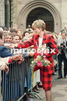 March 12 1991 Princess Diana, dressed in tartan, on a walkabout in Manchester where she visited the Manchester Art Gallery in Moseley Street
