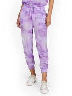 Gauze Tie-Dye Drawstring Short   New York & Company Jogger Pants, Joggers, Sweatpants, Camille Over The Rainbow, Gauze Fabric, Petite Fashion, Fit Women, Parachute Pants, Perfect Fit