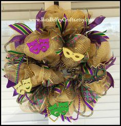 Check out this item in my Etsy shop https://www.etsy.com/listing/220252122/mardi-gras-wreath-mardi-gras-decor