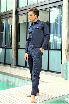 This Jumpsuit for Men Designer Jumpsuit Navy Blue Jumpsuit is just one of the custom, handmade pieces you'll find in our suits & sport coats shops. 1980s Fashion Trends, Trendy Mens Fashion, Unique Fashion, Workwear Fashion, Suit Fashion, Guys Grooming, Barefoot Men, Designer Jumpsuits, Moda Casual