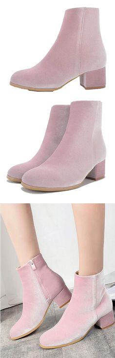 Black Friday-----$43.99 Pink Velvet Zip Side Heeled Ankle Boots by Stayingsummer!