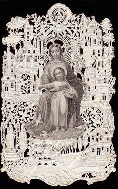 Mary and Jesus / Bouasse Lebel Vintage Holy Cards, Vintage Christmas Cards, Old Christmas, Catholic Art, Catholic Saints, Religious Art, Christian Images, Christian Art, Religion Catolica