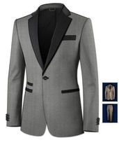 Top venda de novos de cinza custom made noivos homens 3 peças ternos de ternos ( jaqueta + calça + gravata borboleta )