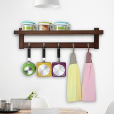 Creative Hanging Hook Real Wood Wall Hanger Shelf Kitchen/Bathroom/Livingroom Multi-purpose Shelf Supporter Storage Holder
