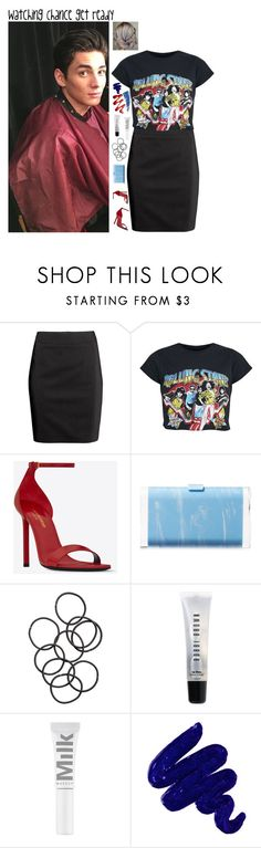 """""""Watching Chance get ready"""" by kateremington-1 ❤ liked on Polyvore featuring H&M, Yves Saint Laurent, Edie Parker, Bobbi Brown Cosmetics, Obsessive Compulsive Cosmetics and Eyeko"""
