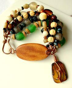 AFRICAN JEWELRY FROM ETSY | African Beaded Bracelet - Bohemian Jewelry - stoneandbone - Wood ...