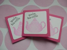 Teapot ~ You're Teariffic Note cards ~  Mini Notes by HeartsCalling on ETSY