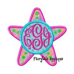 Digital Machine Embroidery Design   Starfish with Monogram