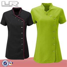 Custom Wholesale 100% Polyester Wrap Mandarin Collar Hotel Housekeeping Tunic Uniform Tops Staff Design $7~$13 Spa Uniform, Hotel Uniform, Beauty Salon Uniform Ideas, Dental Uniforms, Salon Wear, Corporate Uniforms, Uniform Design, Couture Tops, African Fashion Dresses