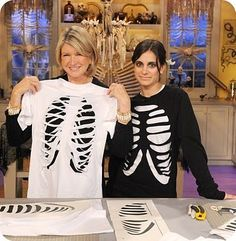 Rib Cage T-Shirt | Step-by-Step  A few strategic cuts transform a simple white T-shirt into a skeleton-inspired Halloween costume. http://www.marthastewart.com/265451/rib-cage-t-shirt