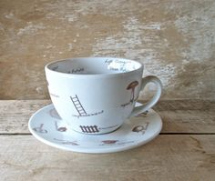 Tea Leaf Reading Cup and Saucer, Tasseomancy Tasseography, Recycled ...