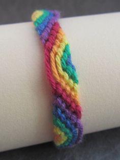 DIY - friendship bracelet - rainbow - red, orange, yellow, green, blue, purple (gay community)