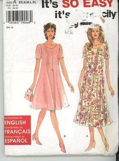 Simplicity Sewing Pattern 7203 Misses' Dress in two lengths Size: A XS-XL Uncut - Sewing Patterns
