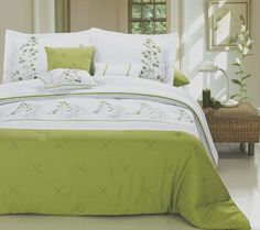 12pc PF. Lime Green/White Luxury Size: Queen Sheet Set Color: Silver-Grey