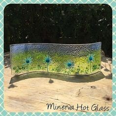 Fused Glass Blue Flower Curved Art Glass - By Minerva Hot Glass in Pottery, Porcelain & Glass, Glass, Art Glass | eBay