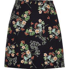 Black floral print a-line mini skirt - mini skirts - skirts - women